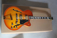 Wholesale hollow body guitar l5 - OEM New Arrival custom Semi Hollow L L5 F hole with bigs cherry sunburst electric guitar
