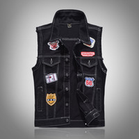 Wholesale patches for vests online - Mens Denim Vest Black Patches Sleeveless Embroidery Jackets Plus Size XL Mens Slim Fit Jeans Waistcoat Stand Collar Single breasted for Men