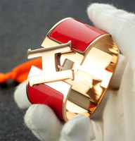 Wholesale metal cross cuff online - Top Quality Celebrity Design Letter Metal Buckle Silver Bracelet Fashion Metal Clover Cuff Wide Bracelet Rose Gold Jewelry With Box
