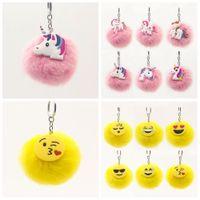 Wholesale trendy yellow handbags - 12 styles Fluffy Emoji Unicorn Keychain Cartoon Plush Key Ring Cell Phone Charms Handbag Purse Pendant Fur Ball Key Chain AAA646