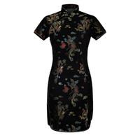 vestido curto das mulheres chinesas venda por atacado-Lady Vintage DragonPhoenix Curto Qipao Mulheres Elegantes Cheongsam Gola Mandarim Sexy Mini Vestido Chinês Vestidos Oversize 6XL