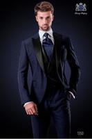 Wholesale italian suit 48 - Best Selling 2018 Italian Custom Made Suit Peak Lapel Navy Blue Wedding Suits For Men Groomsman Man Wedding Tuxedos Suit (Jacket+Pants+Vest)