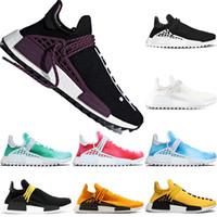 china de sapato venda por atacado-Adidas NMD Human Race Boost Trail Running Shoes Pharrell Williams Homens Mulheres Paixão Amarelo Preto Branco Barato China Run Esporte Tênis Tamanho 36-47 atacado