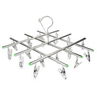 Wholesale folding hook for clothes hangers resale online - Windproof Stainless Steel Swivel Clothes Hanger Organizer With Clips For Underwear Bra Socks Gloves Drying Hook Rack qx Z