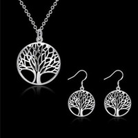Wholesale totem plates set resale online - Best Selling Hot Silver Plated Tree Of Life Jewelry Bridal Set Necklace Earring Totem Gift Wife Girl Wedding Jewellery
