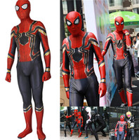 ingrosso costumi da supereroe del capretto di zentai-Bambini Adulto Homecoming Spiderman Cosplay Zentai Iron Spider Man Costume Supereroe Tuta Tuta Ragazzo Boy Bambini costume di Halloween