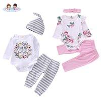 ingrosso vestiti di stile dei ragazzi-Toddler Baby Boys Girls Sprint Abiti stile autunnale Set Love Heart Stampa floreale Pagliaccetto a strisce Plaid Pant Outfit