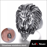 Wholesale gold lion head ring - Hip Hop Jewelry Mens Titanium Stainless Steel Punk Rock Finger Ring Cool Lion Head Ring