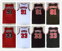 Wholesale mens black mesh shirt - NCAA Mens Mesh Cheap Breathable Sports #33 Scottie Pippen Jersey 91# Dennis Rodman embroidery Suture Shirts Basketball Jerseys