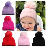 Wholesale toddler boy fitted for sale - Group buy Baby Winter Hat Pompom Caps Toddler Boys Girls Knitted Cap Hats Warm Kids Beanie Knit hat LJJK1102