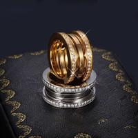 strass ringe gelbgold großhandel-Luxus Titanium Edelstahl Elastic Multiwall Strass Ringe, Gelbgold / Rose Gold / Silber Metall Farben Frauen / Männer Hochzeit Schmuck