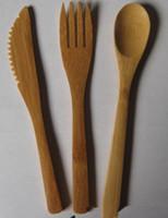 cuchillo ecológico al por mayor-Ecológico de bambú Cubiertos seguridad de los niños botón de madera Cuchillo Tenedor Cuchara Conjunto de bambú occidental Alimentación del vajilla
