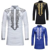 robes de conception de mode africaine achat en gros de-SHUJIN Hommes Dashiki Robe Chemise Eté Africain Habillement Design de mode homme Chemise Africain traditionnel imprimé Hippie Mâle