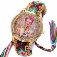 relojes trenzados al por mayor-Arco iris de Ginebra mujeres del reloj hippie estilo de la vendimia del Rhinestone mexicana marcar Fridas cadena de moda reloj de pulsera de cordón de la trenza de Reloj