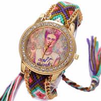 sieht schnürsenkel großhandel-Regenbogen-Genf-Uhr-Frauenweinlese hippie mexikanisches Rhinestone-Artzifferblatt Fridas-Art und Weisearmbanduhr-Spitze-Kettenborte Reloj