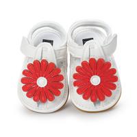 ingrosso sandali rossi infantili-0-18 mesi sandali bambino bianco scarpe principessa moda piatta con sandali infantili estate rosso fiore morbido suola bambina sandali.