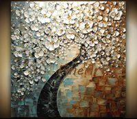 abstrakte gemälde kirschblüten großhandel-handgemalte abstrakte Kunstgemälde weiße Kirschblüten-Baum-Ölgemälde Acrylwandmalerei-Leinwand-Kunst dekorative Wandbilder