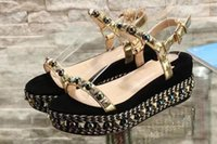 Wholesale ivory platform wedges resale online - 5A Women Pyraclou cm Wedges Shoes Cataclou silhouette Pyramid Studs Platform Heel Size DHL