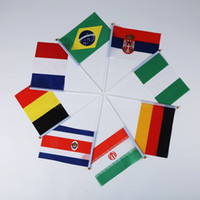 Wholesale world cup country flags resale online - 2018 Russian World Cup Small Hand Wave Flag Countries Banner Flags Festival Celebration Decor Polyester Fiber tk bb