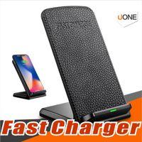 taşınabilir masaüstü standı toptan satış-2 Bobinler Masaüstü Hızlı Qi Kablosuz Şarj Tutucu Standı Pad Samsung S8 Artı Iphone 8 artı X Evrensel Hızlı Taşınabilir Şarj 9 V / 1.67A 5 V / 2A