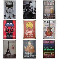 audrey hepburn posters al por mayor-Retro Eiffel Tower Latas sesión Creative Design Audrey Hepburn estaño cartel del hierro del metal Pintura Bar restaurante de decoración de muchos estilos