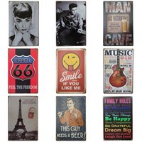Wholesale posters eiffel tower - Retro Eiffel Tower Tins Sign Creative Design Audrey Hepburn Tin Poster Metal Iron Painting Bar Restaurant Decoration Many Styles