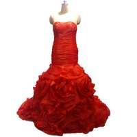 noivas vestidos de noiva fishtail venda por atacado-Luxo Red Mermaid Wedding Vestidos Plus Size Ruched Floral Bandage espartilho Fishtail noiva Vestidos de organza das mulheres vestidos de noiva 2020
