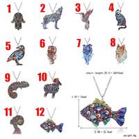 Wholesale Cat Dog Jewelry - 2018 Acrylic Bridal wedding necklace animal pendant wolf bird cat dog sheep fish hand shape pendant necklace Christmas Jewelry 162610