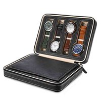 Wholesale Leatherette Jewelry Boxes - 8 Grids PU Leather Watch Box Storage Showing Watches Display Storage Box Case Tray Zippere Travel Jewelry Watch Collector Case