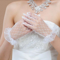 Wholesale Wedding Accessories Bridal Gloves - 2018 Lovely Lace Women's Wedding Bridal Women's Gloves With Full Finger Short Bridal Gloves Free Shipping Accessories