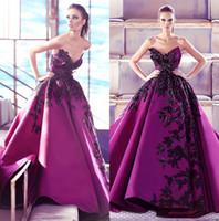 vestidos de fiesta de lentejuelas púrpura al por mayor-Graceful Purple Sequined Prom Dresses Appliqued V Neck A Line Vestido de noche de fiesta con cuentas Sweep Train Satin por encargo Vestidos formales