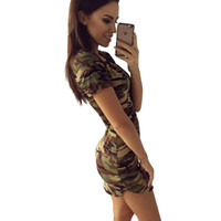 camouflage dress al por mayor-2018 moda mujer verano vestido de camuflaje manga corta vestidos sexy imprimir mini vestido mujer Vestidos S-XL