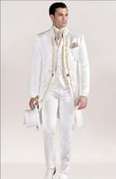 mandalina düğün smokinleri toptan satış-Sıcak Satış Nakış Mandarin Yaka Uzun PatternWedding Damat Smokin Erkek Takımları Düğün / Balo / Akşam Yemeği En Iyi Adam Blazer (Ceket + Kravat + Yelek + Pantolon)