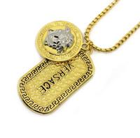 asiatischen stil halskette großhandel-Rock Styles 14k Gold Halskette Silber Medusa Kopf Portrait Tag Anhänger Halskette Pullover Kette Männer Hip-Hop Schmuck Zubehör