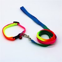 Wholesale wholesale small bells - Adjustable Walking Dog Collars Colorful Comfortable Nylon Puppy Collar With Small Bells Pet Leash Hot Sale 2 9cm B
