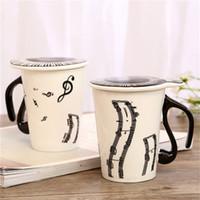 musikkeramik großhandel-Kreative Neue Kreative Keramik Kaffeetasse Mit Deckel Music Note Klaviertasten Musical Porzellan Wasser Milch Tasse 270 ml