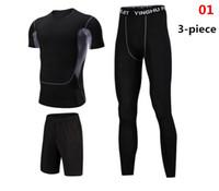 jungen lycra hose groihandel-Mens Compression T-Shirts + Fitness * 2 Pant Sets Männer dünne Leggings Boy Base T-Shirts Workout Bodybuidling Trainingsanzüge
