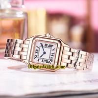 часы из розового золота для дам оптовых-Новый 27 мм Panthere de WGPN0007 Белый Циферблат Швейцарские Кварцевые Женские Часы Из Розового Золота Caes Браслет 13 Стиль Дешевые Новая Мода Леди Часы