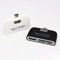 weiße tablette telefon großhandel-4 In1 USB 3.1 Typ C USB-C TF SD Kartenleser Kartenleser Weiß Schwarz Schwarz Für Macbook Phone Tablet