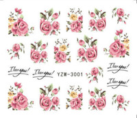 nails pink Australia - 2 Sheets Kawaii Rose Nail Art Stickers Pink Flowers Nailart Decals Diy 3d Decor Charms Water Decal Manicure Design Spring 2018