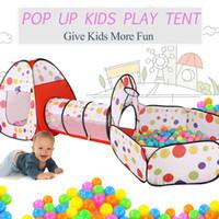 açık havada çadır çocukları toptan satış-3 in 1 Pop Up Oyun Çadırı Playhouse Tünel Top Çukur Bebek Çocuk Oynamak Katlanır Oyuncak Kapalı Açık Playhouse Çocuklar Oyun Oyuncaklar
