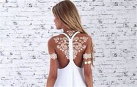 Wholesale Temporary Tattoo Chest - 2018 New White Lace Temporary Tattoo Stickers Temporary Tattoos Back Chest Arm Tattoos & Body Art Support Wholesale