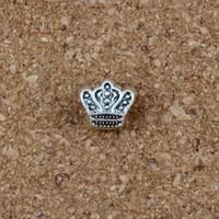 charmes de couronne antiques achat en gros de-En gros 100pcs / Lot couronne gros trous entretoises charmes perles alliage d'argent antique bricolage pour fabrication de bijoux bracelet 10 * 11mm F-2