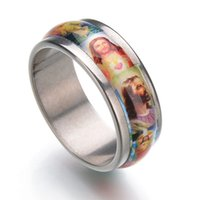 Wholesale Religious Stainless Steel Jewelry - Religious Jewelry Holy Jesus Christ Enamel Stainless Steel Ring Unisex Finger Ring Christian Catholic Christmas Gifts