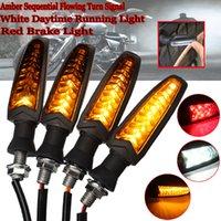 motorrad drl großhandel-4 stücke motorrad led blinker kontrollleuchte lampe für harley für honda weiß dRL + rote bremsleuchten + bernstein fließende drehen licht