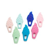 Wholesale Teething Pendants - Silicone Ice Cream Teether Teething Toy Baby Safe Silicone Chewable Teether Nursing Pendant Sensory Toy Baby Shower Gift