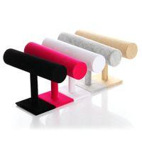 mücevher metal standları toptan satış-Yeni Takı Ekran Tek Katmanlı Kadife Takı Ekran T-Bar Raf Takı Bilezikler İzle 3 Renkler Için Standı