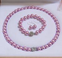 conjunto de brinco de pérola rosa venda por atacado-12mm rosa escuro Akoya Shell Pearl Necklace Bracelet Brincos Set