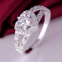 Wholesale open heart silver ring resale online - jewelry rings for women silver plated heart zircon open rings simple hot fashion free of shipping