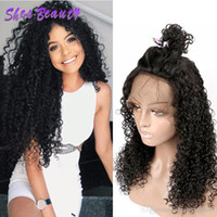Wholesale natural human hair afro wigs for sale - Group buy Shesbeauty Brazilian Virgin Lace Front Human Hair Wigs with Baby Hair Afro Kinky Curly Wigs for Women with Pre Plucked Hairline